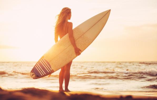 Photo Wallpaper Sunset Girl Beach Surfing Surfboard