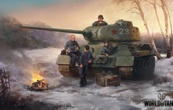 Picture Putin, tank, men, World of Tanks, T-34-85, halt, Lukashenko, rest before the fight