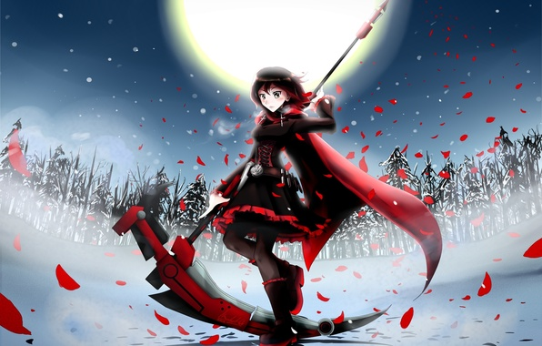 Picture winter, girl, snow, trees, weapons, the moon, tree, anime, petals, art, braid, cloak, ssgt-lulz, ruby, …