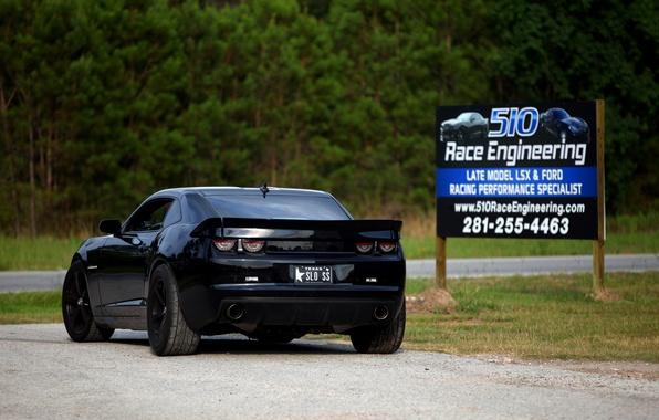 Picture black, tuning, Chevrolet, black, chevrolet, back, camaro ss, Camaro, Billboard