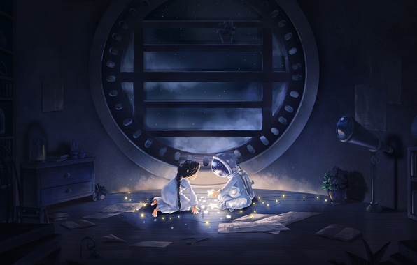 Picture stars, night, room, astronaut, anime, art, girl, garland, camelt