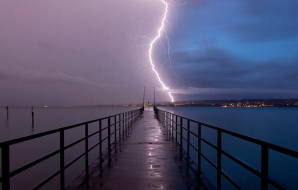 Wallpaper The Storm Lightning Germany The Bridge Lake