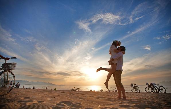Picture beach, pair, guy, girl.joy