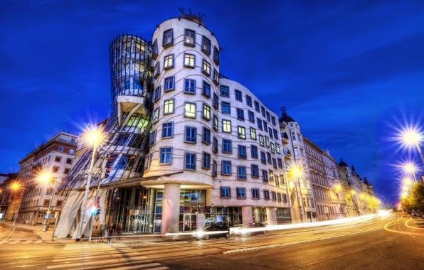 Picture road, machine, night, the city, lights, the building, excerpt, Prague, Czech Republic, lights, architecture, pedestrian, ...