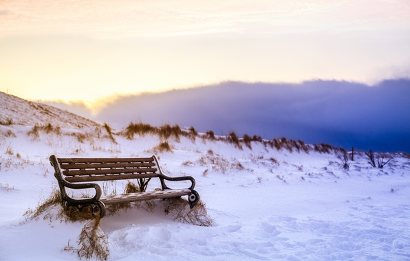 Picture winter, the sky, clouds, snow, traces, nature, shop, Iceland, bench