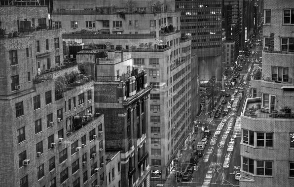 Picture rain, black and white, New York