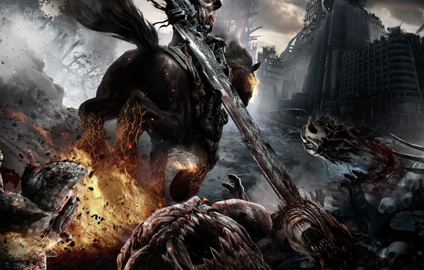 Picture fire, horse, rider, Darksiders