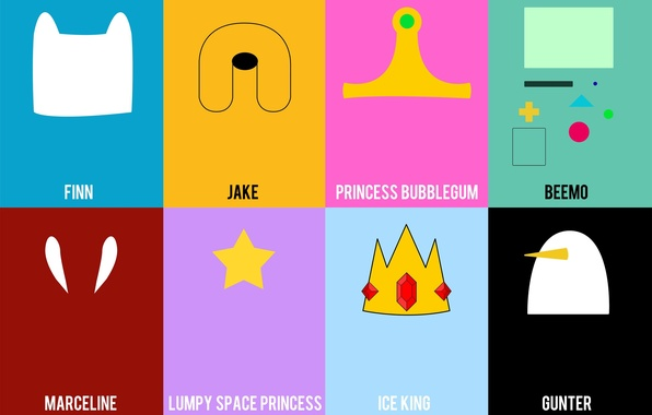 Picture Jake, Adventure Time, Finn, Marceline, Gunter, Ice King, Lumpy Space Princess, Princess Bubblegum, Beemo