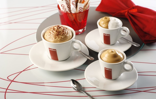 Picture coffee, Cup, sugar, drink, foam, napkin, saucers, spoon