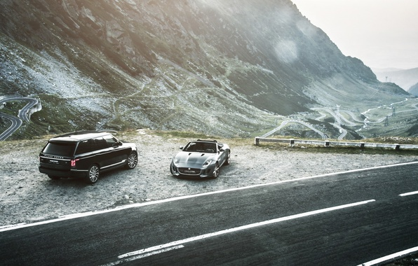 Picture car, mountains, range rover, jaguar f-type