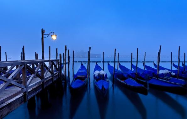 Picture sea, water, light, the city, fog, reflection, island, Marina, morning, pier, lighting, Italy, lantern, Venice, …