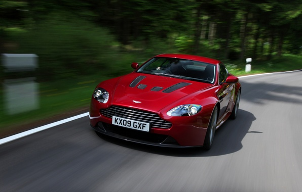 Picture Aston Martin, Vantage, red, front view, V12