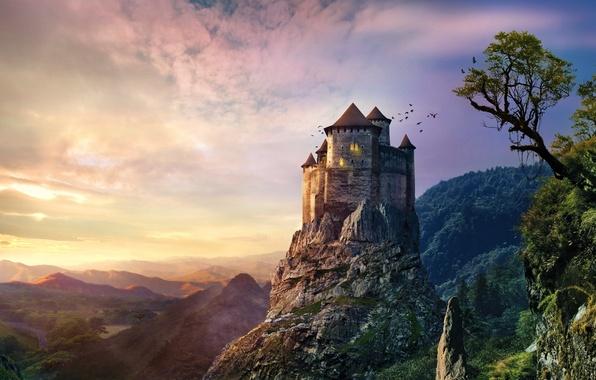 Picture sunset, mountains, rock, stones, castle, old, vintage, castle