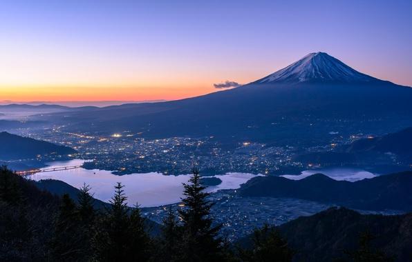 Picture mountain, lake, Japan, Fuji