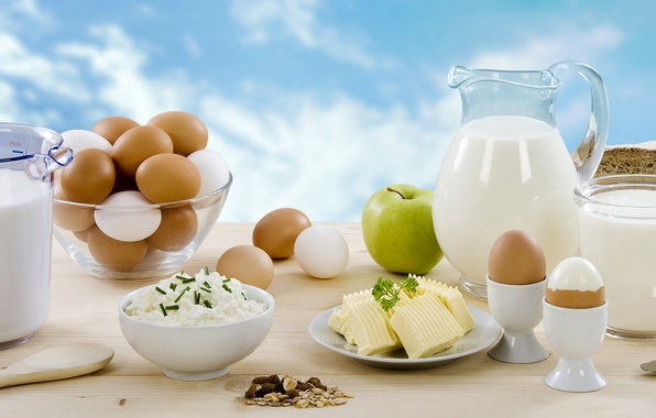 Picture greens, Apple, eggs, cheese, milk, bread, knife, pitcher, nuts, cheese