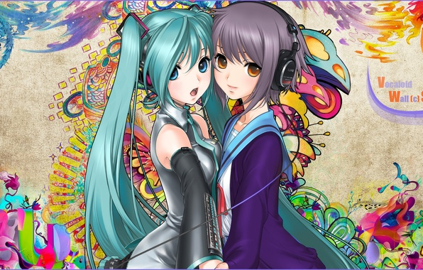 Picture girls, pattern, headphones, vocaloid, hatsune miku, nagato yuki, snyp art