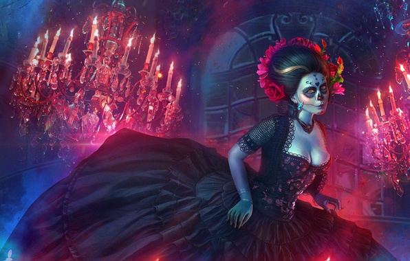 Picture fire, dress, chandelier, art, day of the dead, day of the dead