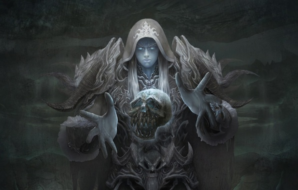 Picture magic, skull, Girl, armor, horns, necromancer