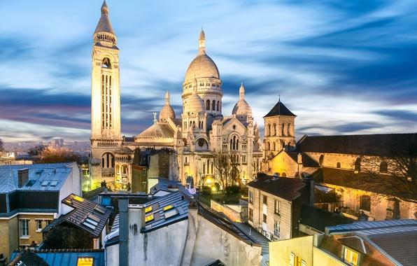 Picture lights, France, Paris, home, the evening, roof, temple, Montmartre