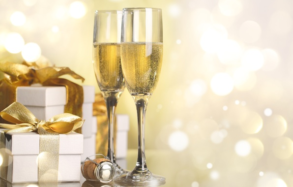 Picture holiday, new year, glasses, gifts, tube, champagne, box, bokeh