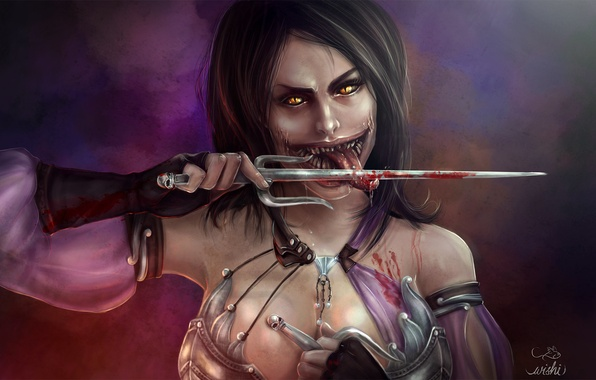 Picture look, weapons, blood, the game, teeth, art, Milina, Mortal Kombat X