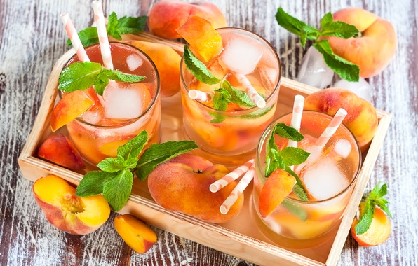 Picture ice, glasses, drink, peaches, mint, lemonade