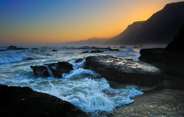 Picture sea, wave, the sky, foam, water, drops, mountains, nature, rock, stones, the ocean, rocks, shore, ...