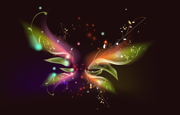 Picture line, flowers, pattern, butterfly, stars