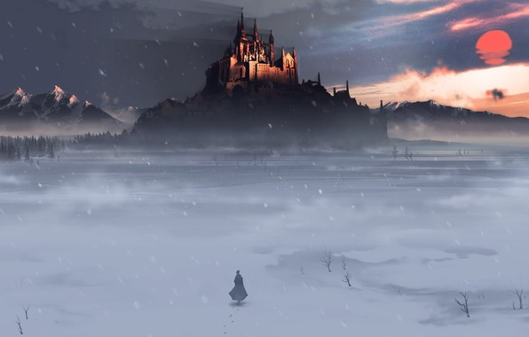 Picture winter, field, snow, castle, people