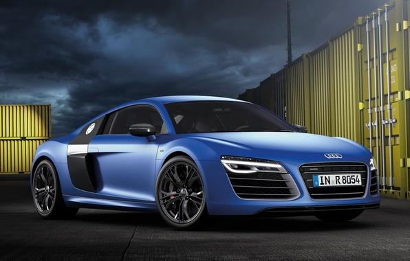 Picture blue, Audi, Audi, supercar, the front, V10, B10, plus, More