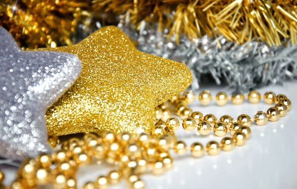 Picture macro, decoration, holiday, star, new year, beads, stars, gold, for the Christmas tree, silver