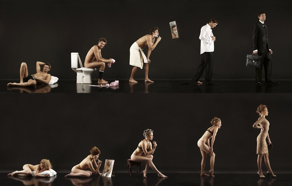 Picture woman, morning, male, feel, the difference