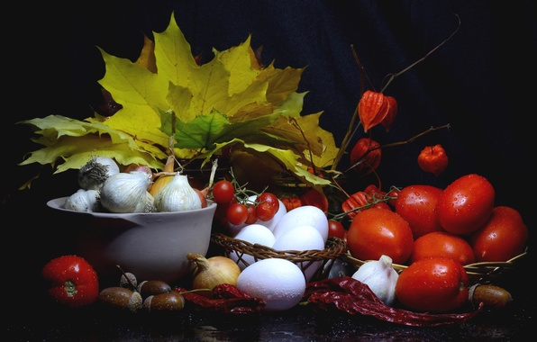 Picture autumn, leaves, eggs, harvest, bow, pepper, still life, tomatoes, acorns, garlic