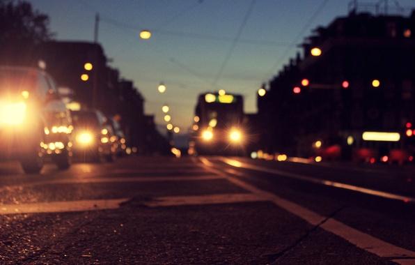 Picture road, asphalt, machine, the city, lights, markup, the evening, Amsterdam, tram, Netherlands, twilight, Amsterdam, Holland, …