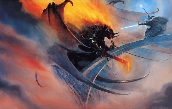 Picture bridge, fantasy, magic, battle, vlastilina rings, Gandalf
