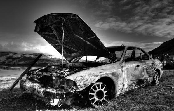 Picture old, car, burnout, burnt, Old auto