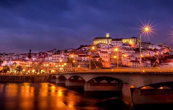 Picture the sky, night, bridge, the city, lights, river, building, home, lighting, lights, Portugal, purple, Portugal, …