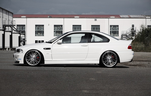 Picture white, the sky, clouds, tuning, the building, bmw, BMW, profile, white, drives, g-power, e46, Mr. …