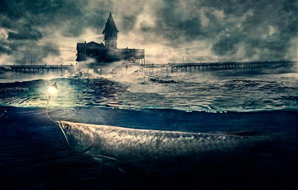 Picture wave, fantasy, fish, pier, art, lantern, Big Fish