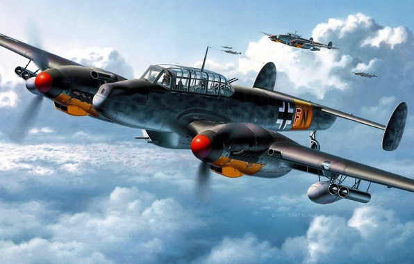 Picture the sky, fighters, aircraft, Messerschmitt, Bf.110, Wargaming.net, heavy, World of Warplanes, strategic, twin-engine