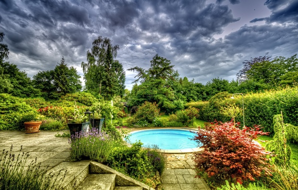 Picture trees, flowers, pool, Kusti, pools.