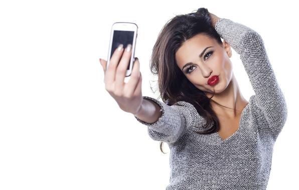 Picture Girl, beauty, brunette, sponge, the beauty, smartphone, appearance, selfie