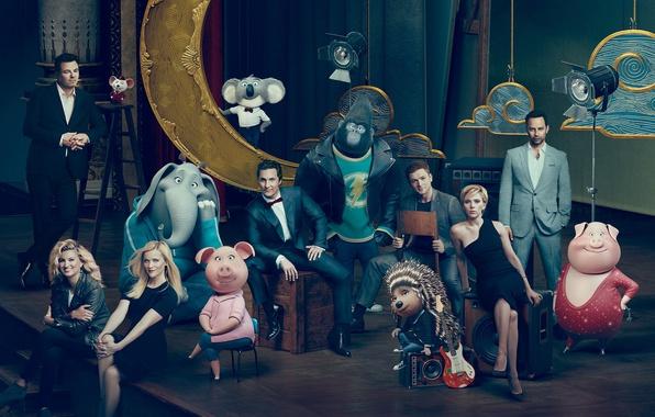 Picture Scarlett Johansson, cinema, man, movie, gorilla, Ash, film, elephant, animated film, Johnny, pig, cast, Universal …