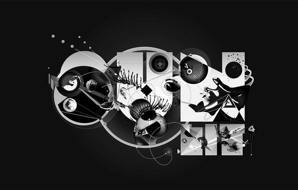 Picture circles, design, black and white