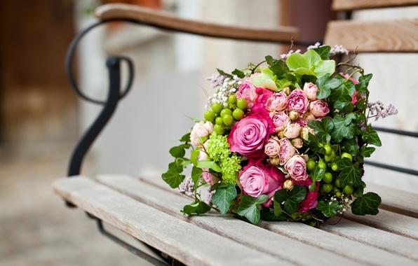 Picture flowers, bench, roses, bouquet, shop, shop, pink, leaves