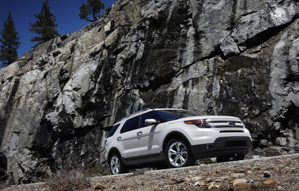 Picture white, rocks, Ford, Ford Explorer 2011