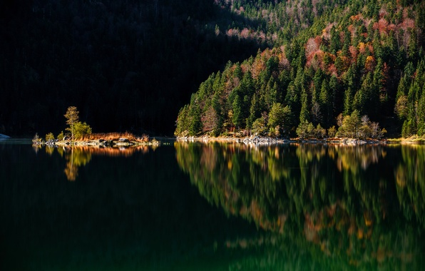 Picture autumn, trees, mountains, lake, Germany, Bayern
