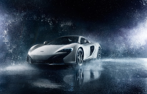 Picture McLaren, Frozen, Front, Water, White, Supercar, 650S, Ligth