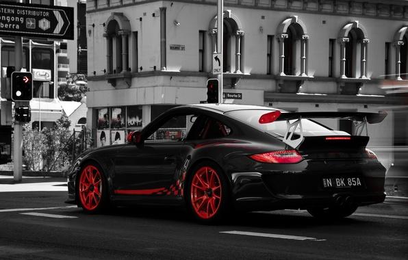 Picture photo, 997, Porsche, b/W, red, white, details, black, GT3, tone, Marcus Curran Photography