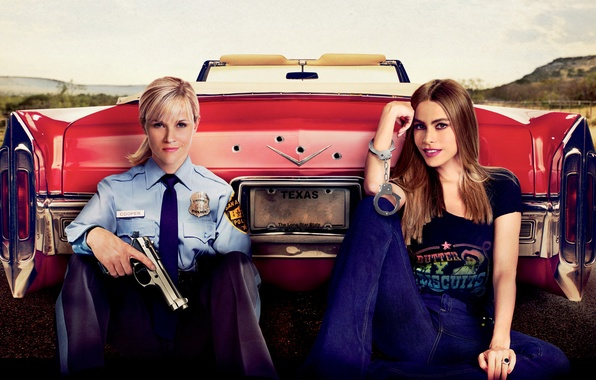 Picture gun, girls, car, form, red, handcuffs, Hot Pursuit, police, Reese Witherspoon, Reese Witherspoon, Sofia Vergara, …